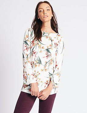 Floral Print Slash Neck Long Sleeve Tunic