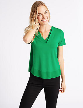 V-Neck Short Sleeve T-Shirt , GREEN, catlanding