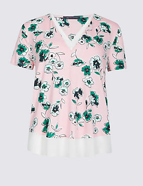 Floral Print V-Neck Short Sleeve T-Shirt, PINK MIX, catlanding