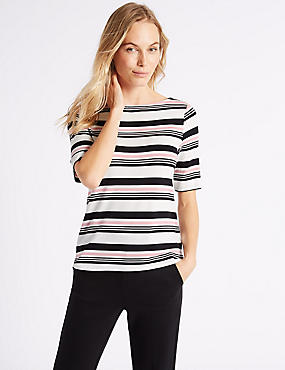 Striped Slash Neck Half Sleeve T-Shirt
