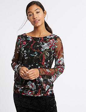 Lace Embroidered Long Sleeve T-Shirt