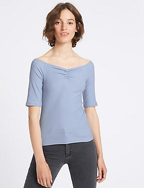 Cotton Rich Ribbed Half Sleeve Bardot Top