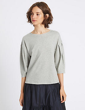 Pure Cotton Round Neck Pearl Sleeve T-Shirt