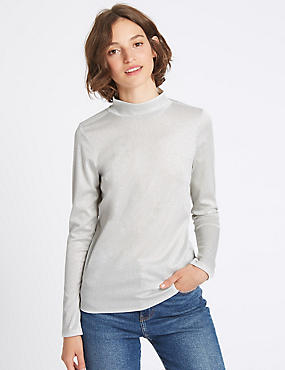 Funnel Neck Long Sleeve T-Shirt