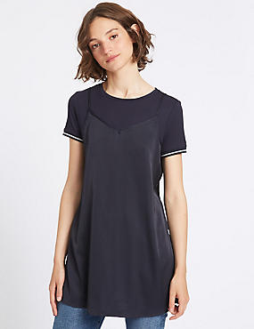 Satin Slash Neck Short Sleeve Tunic