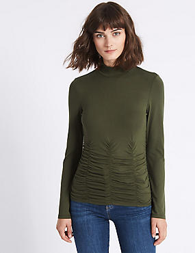 Funnel Neck Long Sleeve Top