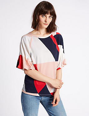 Pure Cotton Printed Pinch Sleeve T-Shirt