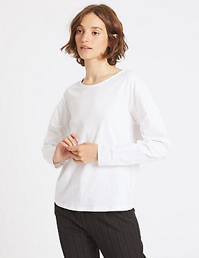 Pure Cotton Poplin Ruched Sleeve T-Shirt