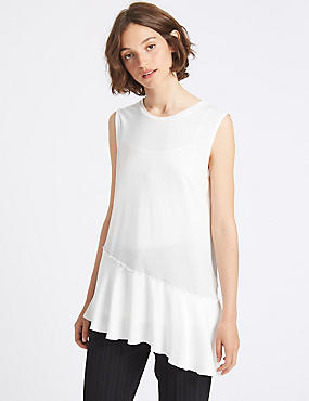 Asymmetric Hem Round Neck Sleeveless Tunic