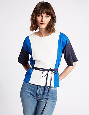 Pure Cotton Colour Block T-Shirt with Belt