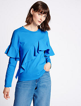 Pure Cotton Ruffle Front T-Shirt
