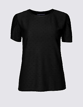 PETITE Round Neck Short Sleeve T-Shirt , BLACK, catlanding