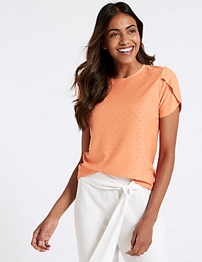 Spotted Round Neck Short Sleeve T-Shirt, MANGO, catlanding