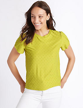 Spotted Round Neck Short Sleeve T-Shirt, CHARTREUSE, catlanding