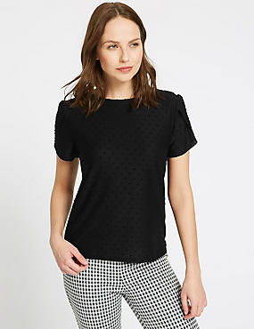 Spotted Round Neck Short Sleeve T-Shirt, BLACK, catlanding