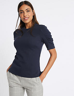 Cotton Rich Rib Ruched Short Sleeve T-Shirt, NAVY, catlanding