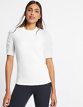 Cotton Rich Rib Ruched Short Sleeve T-Shirt