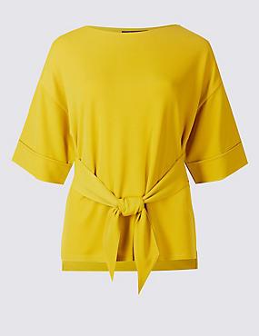 Tie Front Round Neck Half Sleeve T-Shirt , OCHRE, catlanding