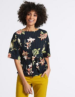 Floral Print Round Neck Half Sleeve T-Shirt, NAVY MIX, catlanding