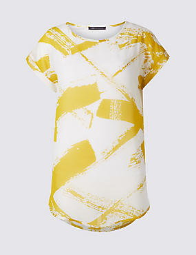 Printed Double Layer Short Sleeve Tunic, OCHRE, catlanding