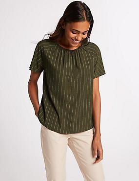 Striped Round Neck Short Sleeve T-Shirt , GREEN MIX, catlanding