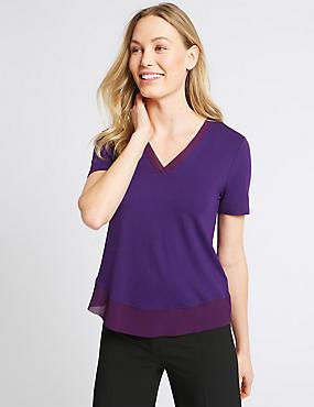V-Neck Short Sleeve T-Shirt, PURPLE, catlanding