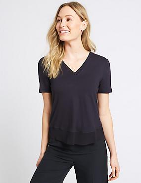 V-Neck Short Sleeve T-Shirt, NAVY, catlanding