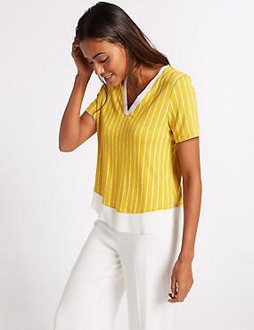 Striped V-Neck Short Sleeve T-Shirt , IVORY MIX, catlanding