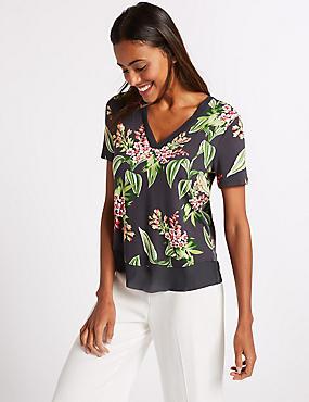 Floral Print V-Neck Short Sleeve T-Shirt , NAVY MIX, catlanding