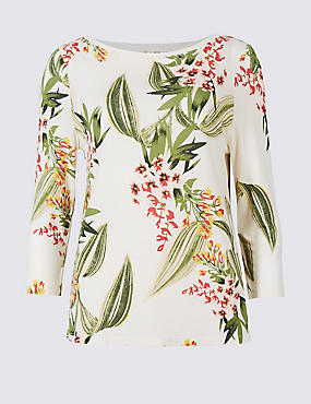 Floral Print Slash Neck 3/4 Sleeve T-Shirt, IVORY MIX, catlanding