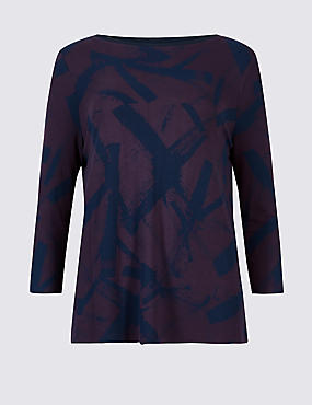Leaf Print Slash Neck 3/4 Sleeve T-Shirt, PURPLE MIX, catlanding