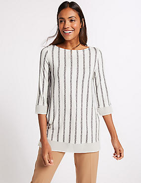 Striped Round Neck 3/4 Sleeve Tunic , IVORY MIX, catlanding