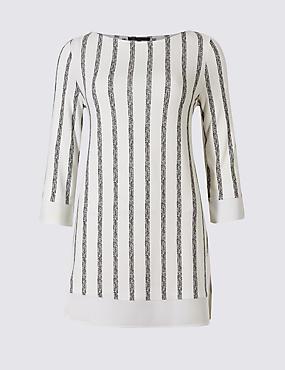 Striped Round Neck 3/4 Sleeve Tunic , IVORY MIX, catlanding