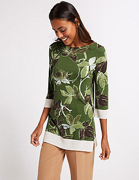 Printed Slash Neck 3/4 Sleeve Tunic , BLACK MIX, catlanding