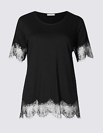Lace Hem Round Neck Short Sleeve T-Shirt