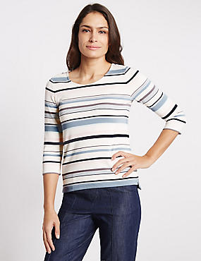 Striped Round Neck 3/4 Sleeve Jersey Top