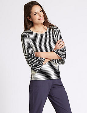 Pure Cotton Striped Embroidered T-Shirt