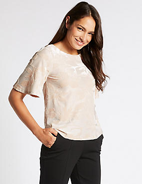 Floral Jacquard Half Sleeve Shell Top