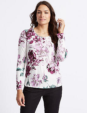 Floral Print Pleated Neck T-Shirt