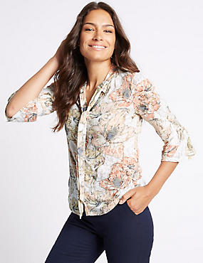Floral Print Tie Front 3/4 Sleeve Shirt