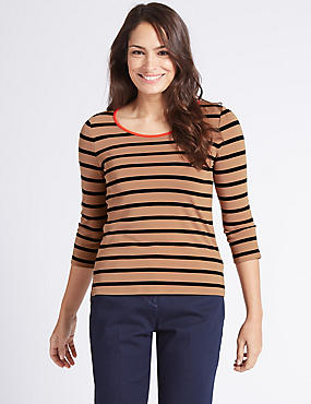 Striped Contrast Neckline 3/4 Sleeve T-Shirt