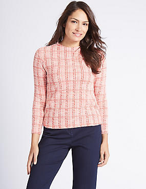 Textured Check Long Sleeve T-Shirt