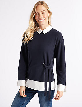 Collared Neck Long Sleeve Top, NAVY, catlanding