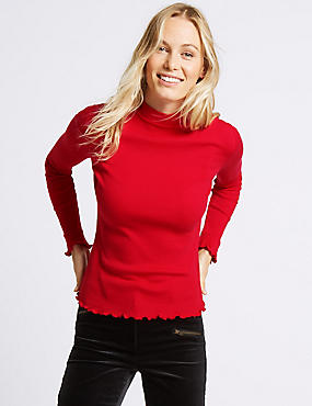 Pure Cotton Funnel Neck Long Sleeve T-Shirt