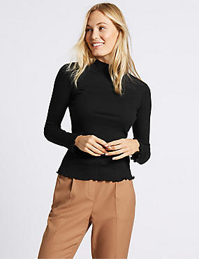 Pure Cotton Funnel Neck Flute Cuff T-Shirt