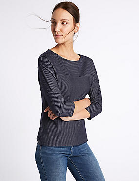 Cotton Rich Striped 3/4 Sleeve T-Shirt
