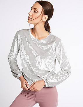Crushed Velvet Long Sleeve Sweatshirt