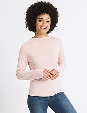 High Neck Lightweight Long Sleeve T-Shirt