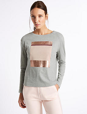 Textured Foil Placement Sweatshirt