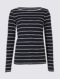 Cotton Blend Striped Slash Neck Rib T-Shirt